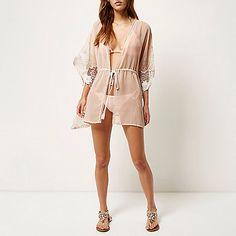 Light pink embellished sheer kimono - kaftans / cover-ups - swimwear / beachwear - women