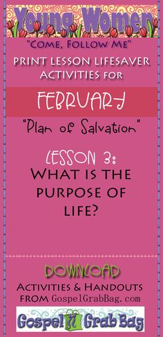 """Young Women """"Come Follow Me"""" Lesson Lifesavers for FEBRUARY, Theme: """"The Plan of Salvation"""" – Lesson 3: What is the purpose of life? – DOWNLOAD lesson activities and handouts from GospelGrabBag.com, by Mary H. Ross, Author and Jennette, Guymon-King, Illustrator"""