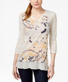 Style & Co. Printed Chiffon Hem Tunic, Only at Macy's