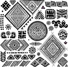 Tribal vintage ethnic pattern set Royalty Free Stock Vector Art Illustration