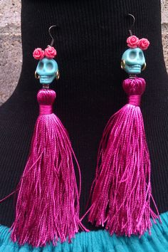 Outfitted Sugar Skull Earrings by CreativeTypeOGirl on Etsy