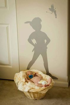 Perfectly Subtle Ideas For Your Disney-Themed Nursery Stick a decal of Peter Pan's shadow on the wall.Stick a decal of Peter Pan's shadow on the wall.