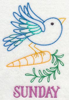 Kitchen Bird with Carrot (Vintage) design (M3833) from www.Emblibrary.com