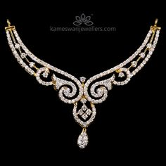 Shop bridal jewellery and South Indian mangalsutra online from Kameswari Jewellers! Diamond Necklace Set, Diamond Pendant, Gold Necklace, Diamond Mangalsutra, Diamond Jewellery, Mangalsutra Design, Jewellery Uk, Bridesmaid Jewelry Sets, Bridal Jewelry