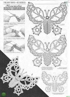 Crochet butterfly pattern ~ if only I could crochet! Crochet Butterfly Pattern, Irish Crochet Patterns, Crochet Diagram, Tatting Patterns, Freeform Crochet, Crochet Chart, Lace Patterns, Thread Crochet, Crochet Motif