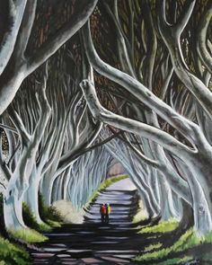 ARTFINDER: The Dark Hedges by joseph lynch - The Dark Hedges ,Co Antrim Northern Ireland an old avenue of beech trees which meet over the road and create an atmosphere all of their own Beech Tree, Lynch, Hedges, Paintings For Sale, Joseph, The Darkest, Artwork, Northern Ireland, Wire Wrapping