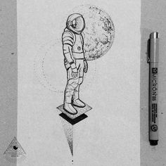 """Astronaut!  Lets go Tattoo! #blacktattooart #blackworktattoo #blackworkillustration #iblackwork #inkstinctsubmission #tattoo2me…"""