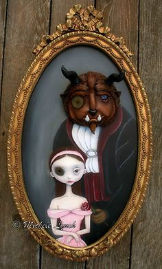 Steampunk Soul Pop Surrealism Original Painting Beauty Beast by Michele Lynch | eBay