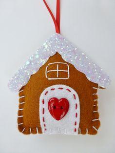 Felt Christmas Tree Ornament Gingerbread House Handmade