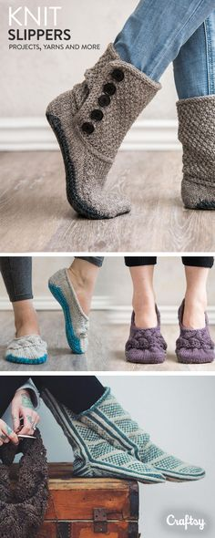 Projects Slippers Explore slipper knitting projects, yarns, videos and more! Explore slipper knitting projects, yarns, videos and more! Beginner Knitting Projects, Knitting Kits, Yarn Projects, Knitting For Beginners, Crochet Projects, Hand Knitting, Knitting Patterns, Crochet Boots, Knit Or Crochet