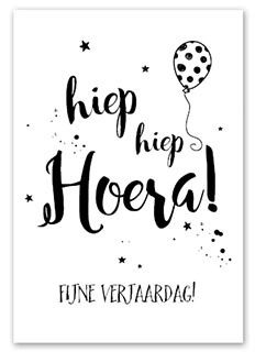 ZWA6-009 Hiep hiep Hoera Birthday Quotes, Birthday Wishes, Happy Birthday, Handlettering For Beginners, Hand Lattering, Bday Cards, Creative Lettering, Happy B Day, Marianne Design