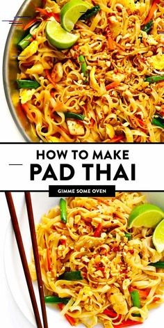 dinner The BEST Pad Thai recipe! Its easy to make with either chicken, beef, pork, shrimp or vegetarian (with or without tofu), and tastes even better than the restaurant version! A delicious healthy dinner recipe that everyone will love. Seafood Recipes, Chicken Recipes, Cooking Recipes, Oven Recipes, Potato Recipes, Crockpot Recipes, Soup Recipes, Best Pad Thai Recipe, Pad Thai Recipe Without Fish Sauce