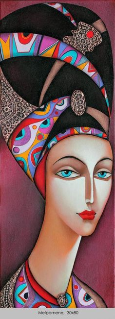 """Wlad Safronow (Russian Artist) """"Melpomene"""" Adore how he uses Vibrant Colour and Bold Patterns in this series of female portraits... creating a Wonderful Art Deco style ✿≻⊰❤⊱≺✿"""