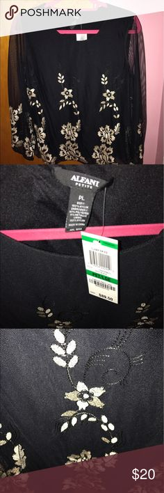 Alfani women's petite blouse Brand new alfani women's blouse in petite size large.  Retails for $89.50. Beautiful blouse for a special occasion.  Ships daily from a clean, smoke free, pet free home.  Hurry this deal won't last! Bundle with any other items from my page and save! Alfani Tops Blouses