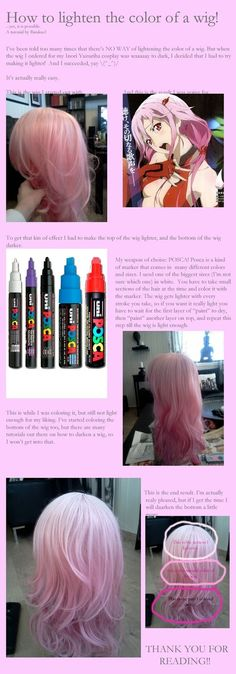 How to lighten a wig by ~Rirukuo on deviantART - COSPLAY IS BAEEE! Tap the pin now to grab yourself some BAE Cosplay leggings and shirts! From super hero fitness leggings, super hero fitness shirts, and so much more that wil make you say YASSS! Cosplay Hair, Cosplay Makeup, Costume Makeup, Cosplay Wigs, Best Cosplay, Cosplay Horns, Awesome Cosplay, Costume Wigs, Cosplay Outfits