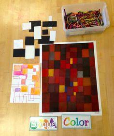 Paul Klee inspired shape painting for Kindergarten. Crayon, mat board, liquid watercolors.