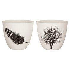 2er Set Windlicht - Porzellan - weiß mit Motiv Baum / Feder - von broste Copenhagen
