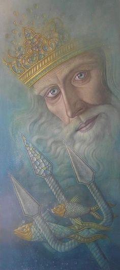 Poseiden, Neptune, Ruler of Pisces. Hernán Valdovinos, 1948 ~ Magical Realism painter | Tutt'Art@ | Pittura * Scultura * Poesia * Musica |
