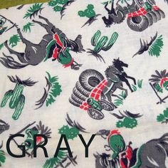 1930s Authentic Vintage Feedsack Print Fabric - Western Theme Horses Cowboys Covered Wagons