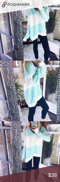 Mint Waffle Knit Hailey V Neck Sweater A42 Super feminine and cozy Sweaters V-Necks