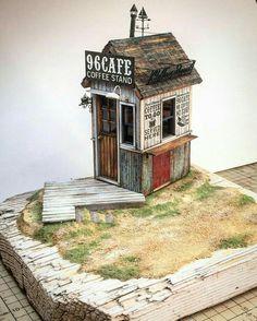 Small coffee stand 1/24 scale. W.I.P. By Doozy Okugawa. Doozy Modelworks. #diorama  #Miniature_house