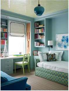katie ridder study/kid's bedroom--patterned ceiling, upholstered daybed, built-ins
