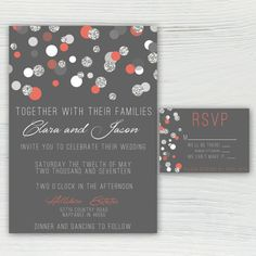 Polka Dot Coral Silver and Gray Wedding by JordanSantosDesign