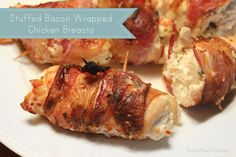 Bacon Wrapped Chicken stuffed with chive and onion cream cheese! Simple and delicious!