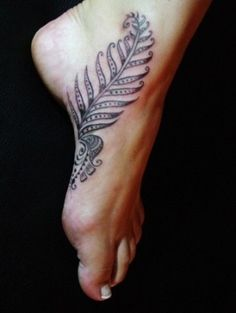 Henna Feather Foot Tattoo Design for Women   Cool Tattoo Designs