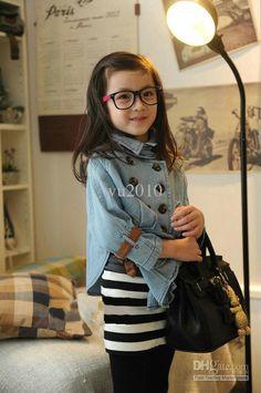Wholesale Children 's jacket - girls bat sleeve double-breasted denim jacket, Free shipping, $14.21-16.42/Piece | DHgate