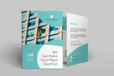 Cleaning Services Bi-Fold Brochure by Creatricks on @creativemarket