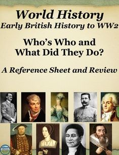 This Who's Who in World History reference packet includes 119 men and women your students will encounter in World History from Early British History through World War 2 (divided into 10 units).  The sheets include the person's name, their image, and a blurb about what they are typically historically noted for.  There are also extension activity ideas and group review suggestions.