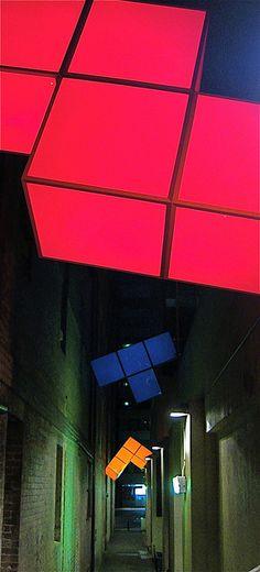 Tetris light art in Sydney, Australia