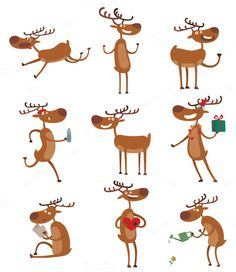Cartoon deer vector set by vectorstockstoker on @creativemarket