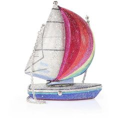 Judith Leiber Swarovski Crystal Sailboat Clutch (€5.770) ❤ liked on Polyvore featuring bags, handbags, clutches, apparel & accessories, clasp purse, metallic purse, metallic handbags, swarovski crystal handbags and white purse