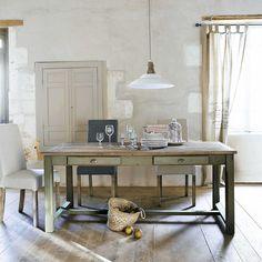 Table de salle à manger en bois grise L 180 cm