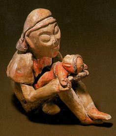 Olmec seated mother and child figures. Olmecs are one of the oldest civilisations and yet their realistic poses and expressions are a complete surprise. Open for more.