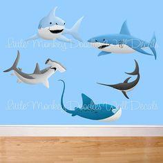 64 Ideas For Baby Boy Nursery Room Ideas Ocean Wall Decals Shark Bedroom, Shark Nursery, Ocean Bedroom, Baby Bedroom, Nursery Room, Kids Bedroom, Bedroom Art, Trendy Bedroom, Bedroom Ideas