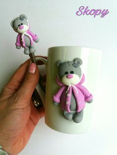 Polymer clay Teddy mug