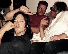 tovahwithav: A wonderful generous host @ championship fight night. Mr. Daryl Norman Reedus // Norman, Michael Cudlitz, and Jeff January watching the fight //