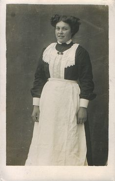 """Edwardian maid.  My grandmother, born about 1886, worked as a servant from age 12 till about 34, when she married.  She was very proud of uniforms similar to this, provided by """" a duchess living in Canada.""""  They were stolen from her room when she moved to NYC and she still regretted their loss when she told her 10 year old granddaughter the story."""