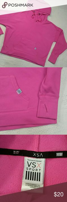 VSX PINK fleece hoodie medium Victoria's Secret Pink VSX pink fleece pullover hoodie, preowned condition, slight pilling, oversized, front pocket, thumb holes hem slit VSX Tops Sweatshirts & Hoodies
