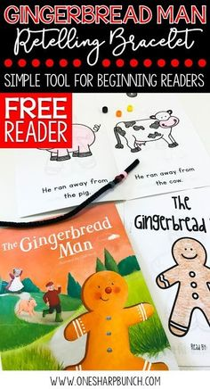 Gear up for Christmas in the classroom with this FREE Gingerbread Man emergent reader and retelling bracelet. the perfect addition to your Gingerbread Man activities and Christmas activities! Kindergarten Reading Activities, Activities For Boys, In Kindergarten, Preschool Activities, Preschool Boards, Preschool Class, Preschool Printables, Book Activities, Teaching Resources