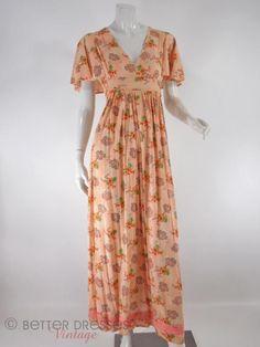 70s Peach Floral Flutter Sleeve Maxi - sm
