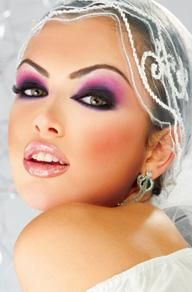 #purple make up on your #wedding day love it the eye make up color but I'd have it a bit more delicate and NOT have as much make up like THIS.