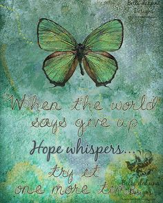 HOPE WHISPERS Inspirational Quote Butterfly Digital Print 8x10 Download