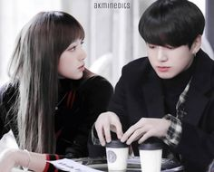 Lizkook at coffee shop working on their collab Kpop Couples, Cute Couples, Go7 Mark, When Youre In Love, Bts Girl, Jungkook Aesthetic, Jungkook Oppa, Blackpink And Bts, Korean Couple