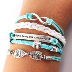 Sweet Love Owl Infinity Bracelets