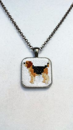 Miniature Cross Stitch Beagle Necklace Pendant - Ready to Ship