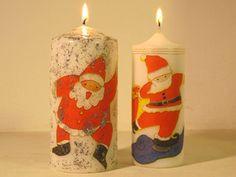 Velas blancas decoradas con motivos de servilleta y purpurina Decoupage, Handmade Candles, Pillar Candles, Sewing Projects, Diy, Home Decor, Molde, Xmas, Carved Candles